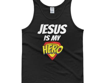 Jesus is my Hero Tank top, jesus tank top, funny tank top, i love jesus tank, christian tank top, christian tank, church tank top