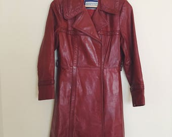 Vintage Leather Trench Coat- 70s