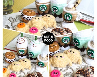 Crochet Pattern Starcutes Buddies 2, Coffee crochet food, Mocha, Frapuccino, croissant, Fruit cookies, sandwich cookies and more!