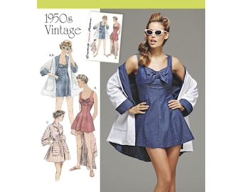 Simplicity Sewing Pattern 8139 Misses' Vintage Bathing Dress and Beach Coat