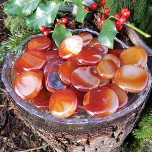 Yummy Carnelian Palm Stone - 1 medium - Egyptian Talisman to Assist the Soul in the Afterlife, Used to Protect Against Jealousy and Envy.