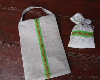 A set of Linen Gift Bag for a Honey Jar + Lavender Sachet