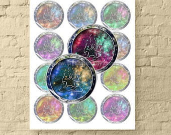 Hallow Earth Meditation / 2.5 Inch Round Digital Collage Sheet for Jewelry & Crafts / Printable Galaxy Images / New Age // Instant Download