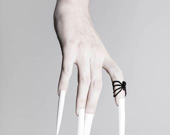 Spiderhug Midi-Ring in schwarz