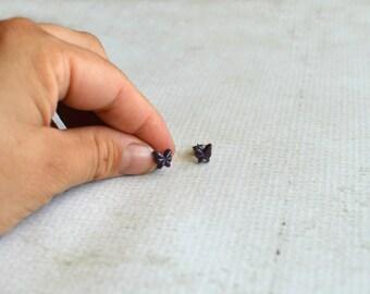 Vintage Purple Butterfly Earrings- Tiny Purple Butterfly Studs- Titanium Earring Studs- Vintage Hypoallergenic Studs- Titanium Earrings