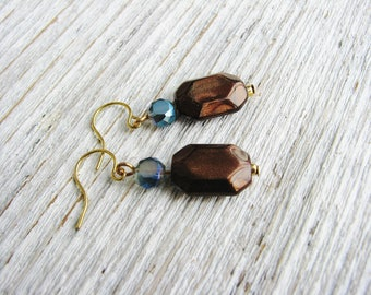 Brown and Blue Bead Earrings, Beaded Earrings, Crystal Earrings, For Her Gift, Bead Jewelry, Beaded Jewelry