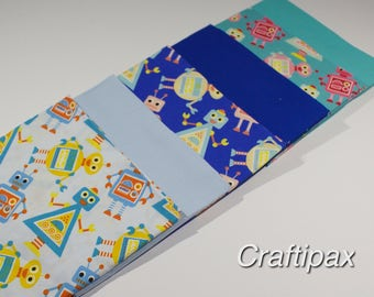 Robot Fat Quarter Bundle - Six Fat Quarters - Fabric Freedom 100% Cotton - UK Seller - Quilting, Patchwork