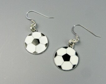 Soccer Earrings - Black and White Soccer Ball Jewelry for Athlete - Teen Girl Gift for Playing Sports Birthday