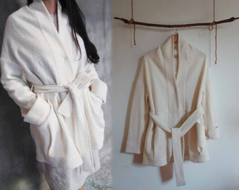 690---White Boiled Wool Cocoon Silhouette Coat, with Detachable Self Belt, Wrap Coat, Robe Coat, One Size Fits Many.