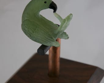 Rosewood and Cast Glass Preening Parrot Box OOAK