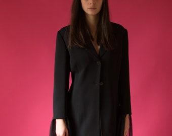 Oversized Black Blazer With Tulle Applique- One-size