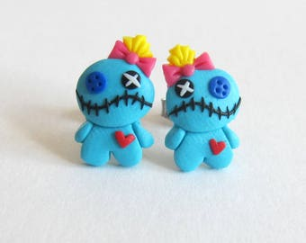 Lilo and Stitch Costume, Voo Doo Doll, Voodoo Doll Earrings, Voodoo Earrings, Scrump Earrings, Scrump Doll, Blue Doll, Halloween Costume