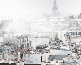 Paris Photography - Eiffel Tower in Fog, Paris Architecture, Neutral Urban Decor, French Decor, Large Wall Art