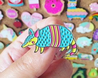 Armadillo Pin - Soft Enamel Pin - Armadillo Badge - Animal Badge - Gift - Art - Lapel Pin - Cute Pin - Kawaii - Animal Pin - Pun Pin - Pins