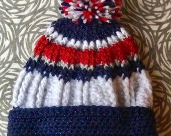 Crochet Ribbed Pom Pom Beanie- ADULT