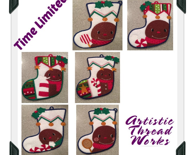 Gingerbread-Stocking-Gift-Card-Holders ( 6 Machine Embroidery Designs from ATW )