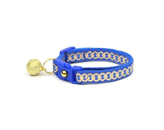 Celtic Knot Cat Collar - Gold Knots on Blue - Small Cat / Kitten or Large Cat Collar