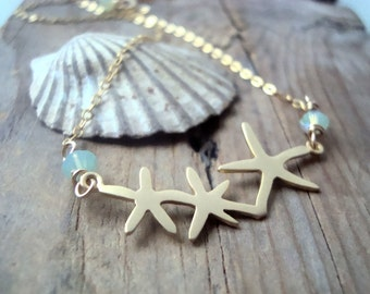 Gold Starfish Necklace With Crystal. Bridesmaid Jewelry Gifts Under 30 Beachy Jewelry Beach Weddings Summer Jewelry Mother Day Ocean