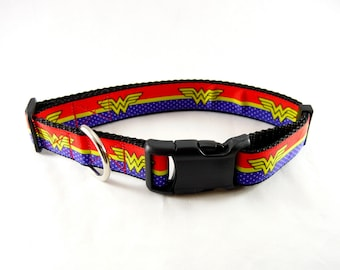 "Wonder Woman Dog Collar (3/4"" and 1"" width) - Leash - Martingale - Small - Medium - Large - Extra Large"