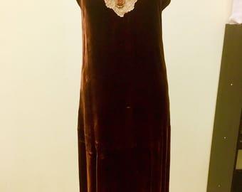 1920s Burgundy Velvet Dress