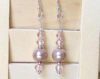 Pink Pearl Earrings/ 100% Sterling Silver/ Pearl Dangle Earrings/ Pale Pink Crystals/ Dusty Pink Pearls