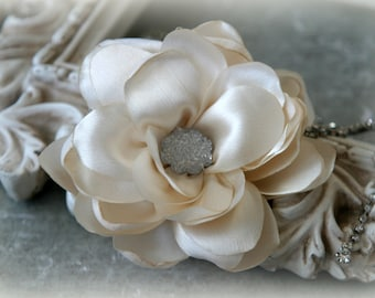 Tresors   Ivory Satin Flowers with Decorative Center, for Headbands, Clothing, Sashes, Crafting, 4 inches across, FL-325