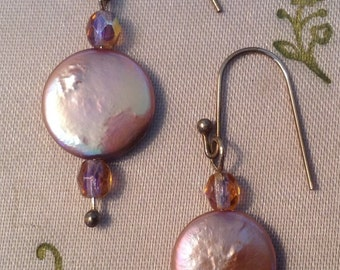 Coin Pearl Earrings on Sterling Wires