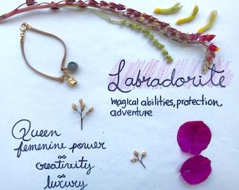 Bracelet Handmade Labradorite and queen Crystal y boho jewelry /