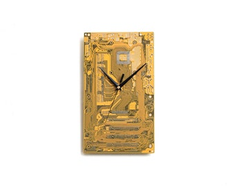 Circuit Board Clock, Father Gift, Unique Gift, Boyfriend Gift, Husband Gift, Boyfriend Gift, Tech Gift, Yellow Wall Clock, Motherboard Clock