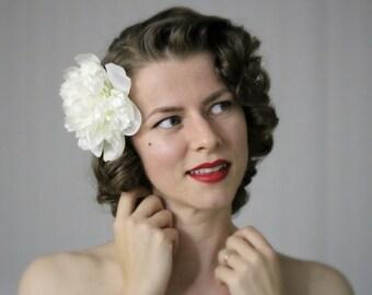 "White Hair Flower, Peony Hair Clip, Bridal Fascinator, Large Floral Hair Accessory, Wedding Vintage Silk, 1950s Bride - ""Walking on Clouds"""