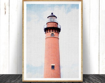 Lighthouse Colour Photography, Coastal Beach Decor, Nautical Wall Art Print, Printable Photo, Instant Digital Download, Modern Minimalist