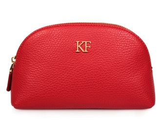 Leather Cosmetic Bag, Genuine Red Leather Pouch, Leather Makeup Case, Make Up Leather Toiletry Bag, Red Cosmetic Bag Pouch KF-608