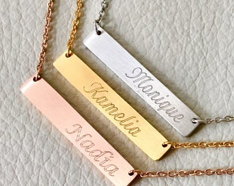 Name bar necklace, Initial necklace, Bridesmaid Gift, Engraved Jewelry, Silver plate bar necklace, Rose gold , gift idea,
