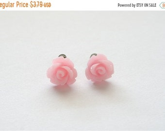 25%OFFSALE Tiny Soft Pink Rose Earrings, Under 5 Dollars, Bridesmaid Gift