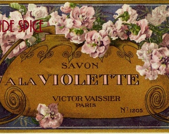 French Vintage Soap Label Violette jpeg instant digital download