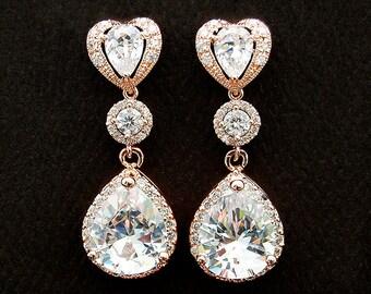 CZ Bridal Jewelry. Rose Gold CZ Bridal Earrings 184ERG. Pear cut CZ Halo set, Romantic Wedding Jewelry. Rose Gold Earrings. Bridesmaid Gift