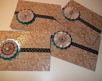 Beige Rosette Blank Greeting Cards Set of 4
