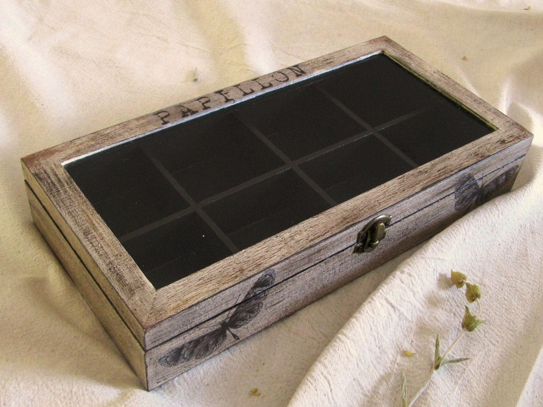 Butterflies wooden tea box tea display box wood jewelry