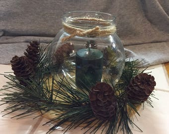 Pine holiday candle in glass holder with pine cones, Christmas decor, winter wedding, holiday table decor