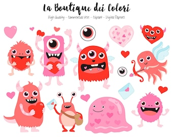 Red Valentine's Day Monsters Clipart, Cute Digital Graphics PNG and Vector EPS, Fun Love Clip art, Cupid Hearts, Love letter Clip Art