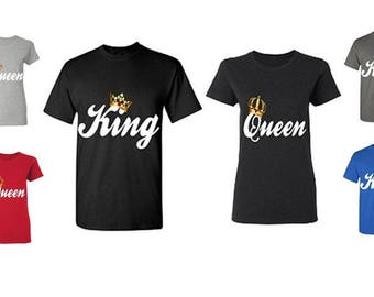 King & Queen Couple T-Shirts - His And Hers Boyfriend - Girlfriend Matching Tees ( Comes 2 T-Shirts Men-Women)