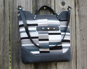 Chic modern Denim and Canvas Leather Strap Handbag, Shoulderbag
