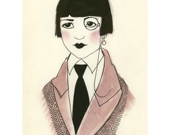 "Art Deco fashion illustration   Paula -  8.3"" X 11.7""  print - 4 for 3 SALE"