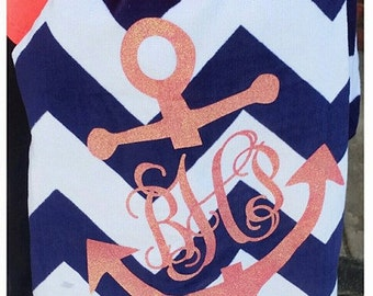 Monogram Beach Towel Personalized Towel Personalized Glitter b8
