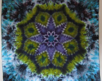 "PURPLE AVOCADO tie dye mandala on cotton 55"" x 55"" twilightdance"