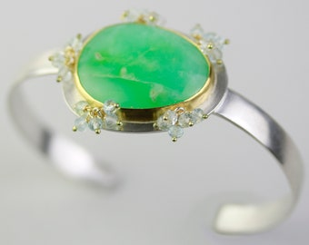 Chrysoprase Cuff Bracelet with Sky Blue Topaz Clusters. 22k Gold and Argentium Sterling Silver.