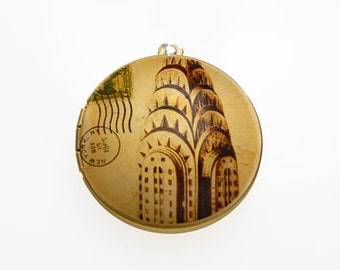 Photo Locket, Image Locket, Art Locket, Picture Locket, Brass Locket - NYC Sepia Toned Chrysler Building