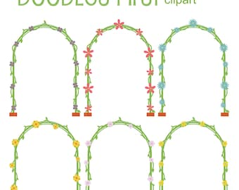 Floral Arch Clip Art for Scrapbooking Card Making Cupcake Toppers Paper Crafts