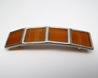 Butterscotch - Large Stained Glass French Barrette
