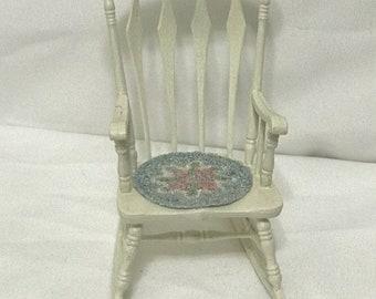 "Dollhouse Miniature  1"" scale Chrysnbon Rocking Chair"
